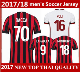 Wholesale Kaka Milan - best quality AC Milan jersey 2017 2018 BONAVENTURA soccer jersey home red 17 18 BACCA KAKA away white ac Milan football men shirts