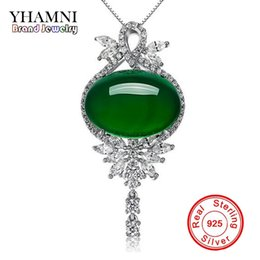 Wholesale Real Green Jade - HAMNI New Fashion Original Real 925 Sterling Silver Jewelry Green Malay Crystal Natural Gem Pendant Women Necklace D232