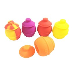 Wholesale Silicone Oil Containers - 100pcs lot Silicone Container For Oil 35ml Non-stick Silicone Concentrate Dab Jar With Lids Mixed Color