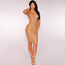 Wholesale Sexy Dress For Night Party - Sexy Spaghetti Strap Pencil Dresses for Women Attractive Knee Length Women Party Dresses with Cap Sleeve