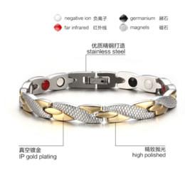 Wholesale European Magnetic Bracelet - Bracelet Men Health Energy Magnetic Negative Ion Germanium Bracelet Men Jewelry Chain Link Stainless Steel Bracelets & Bangles