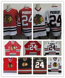 Wholesale Hot Mens White Chicago Blackhawks Bob Probert Throwback VINTAGE Jerseys Bob Probert Blackhawks Game Worn Red ICE hockey Jerseys