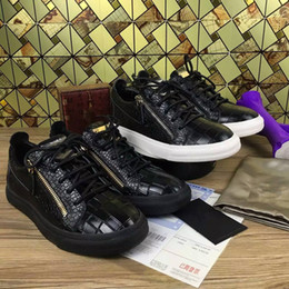 Wholesale Italian Black Leather Sneakers Men - Italian designer brand zanottys men casual shoes brand new women sneakers white color with Metal decoration Double zipper low and high top