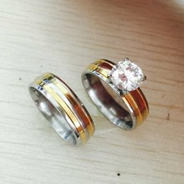 Wholesale Ring Gold Pair - gold silver plated large CZ diamond 6mm*2 Couples Rings Set for Men Women Engagement Lovers pair rings