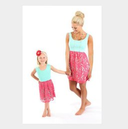 Wholesale Look Casual Girl - New Design Lace Mother Daughter Dresses Girls Women Dress Matching Mommy And Me Clothes Family Look Knee-length Dresses