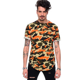 Wholesale hip hop camo clothing - Fashion Men Camo Printed Brand Clothing T Shirts Summer Short Sleeve Design Extend Hip Hop Street T-shirt