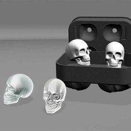 Wholesale Flexible Ice - Free Shipping 3D Skull Flexible Silicone Ice Cube Mold Tray Makes Four Giant Skulls Round Ice Cube Maker Black 0702286