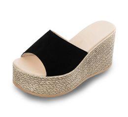 Wholesale Korean Ladies Shoes Sandals - women shoes 2017 summer new Korean ladies Slippers Sandals with waterproof slope heels muffin bottom word slippers women shoes