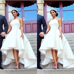 Wholesale Satin Low Back Wedding Dress - Arabic 2017 Ivory Satin High Low Wedding Dresses A-line Cheap Halter Criss Cross Back Beach Bridal Gowns Plus Size Custom Made EN6062