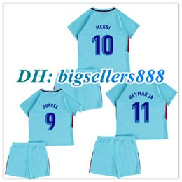 Wholesale 17 kids home MESSI soccer Jersey kits ARDA A INIESTA SUAREZ SERGIO PIQUE I RAKITIC NEYMAR JR Spain away child Football shirts