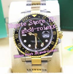 Wholesale Gmt Gold - Top Luxury Brand Mens Ceramic Bezel Automatic Gmt Basel Watch Men's Steel Gold Watches Men Sapphire Crystal Fair AAA Dive Wristwatches