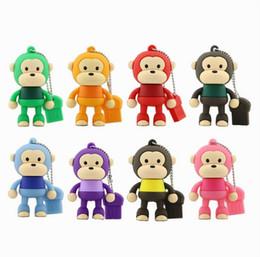 Wholesale Cartoons Pendrive 4gb - Cartoon Cute Monkey USB Flash Drive Pendrive 4GB 8GB 16GB 64GB USB Stick External Memory Storage Pen Drive