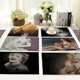 Wholesale Food Photos - Europe and the United States people Monroe photo avatar cotton and linen cloth art western-style food table MATS place mat