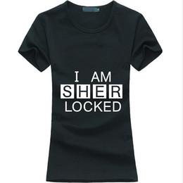 Wholesale Neck Lock - Wholesale- Hot Sherlock Holmes women t-shirt I Am Sher Locked print funny cotton casual tee shirt femme fashion brand harajuku punk tops