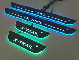 Wholesale Nissan Door Sills - 4pcs Colorful LED Moving Door Sill Scuff Plate Nissan Welcome light Pedal Car Styling Accessories For nissan x-trail