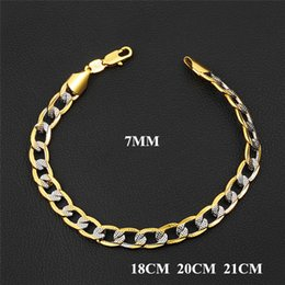 Wholesale Trendy Men Bracelets - Europe and America Fashion Trendy 18K Yellow Gold Plated Double Colors 7mm Figaro Chain Bracelet for Men Bracelet Chain Drop Shipping