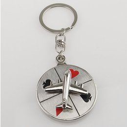Wholesale Russian Aircraft - Free shipping 20 pcs New design creative novelty Russian roulette plane aircraft compass fashion metal keychain promotion gift