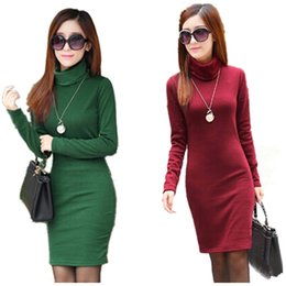 Wholesale Long Turtleneck Dress For Women - Wholesale- Winter Dress Fleeces Thicken Warm Dresses For Women Turtleneck Solid Dress Feminino Casual Long Sleeve Vestidos L8283