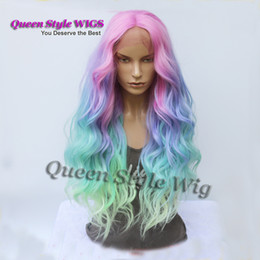 Wholesale Blue Wave Color - Mermaid Pastel Rainbow Hair Wig Synthetic Rainbow Color Pink purple  Blue  Fluorescent Green Ombre Hair Lace Front Wig Mermaid Cosplay wigs