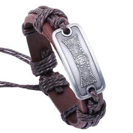 Wholesale Europe Christian - Europe and America vintage Rectangle cross bracelet 2016 Christian jewelry unisex Genuine charm cowhide bangle wholesale