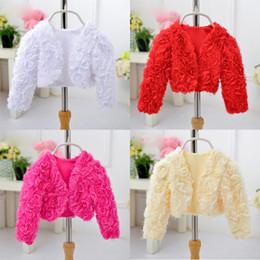 Wholesale Dress Top Coat - Wedding Flower Girls Small Coat Party Cardigan Short Shawl Red Pink Match Princess Dress Sleeve Tops Kids Outerwear