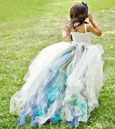 Wholesale Dress Child One Shoulder - Colorful Lovely Flower Girl Dresses Ball Gown Tulle One Shoulder Cute Little Girls Pageant Dress Kids Children Dress 2017