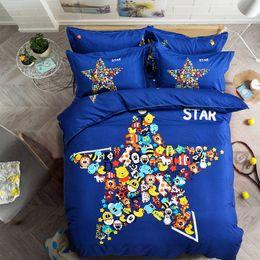 Wholesale 3d Lighting Bedding Sets - Wholesale- Home Bedding Set Cute Cartoon Leopard Spots Bed Sheet duvet cover set pillowcase Blue Friend Star Queen full Twin size