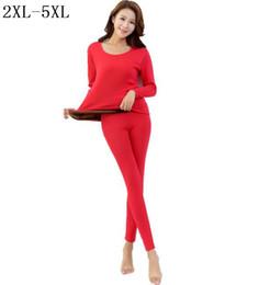 Wholesale High Waist Bamboo - Wholesale- 2017 Women winter thicken velvet bamboo fiber long john thermal underwears tops+ high waist leggings plus size xxl xxxl 4xl 5xl