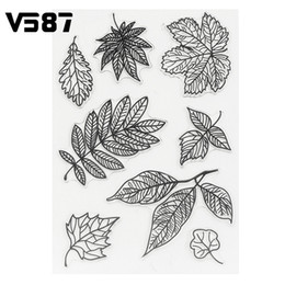 Wholesale Kids Clear Glasses - Wholesale- Silicone Stamps Sheet DIY Leaves Transparent Clear for DIY Scrapbooking Card Making Kids Craft Decoration Supplies