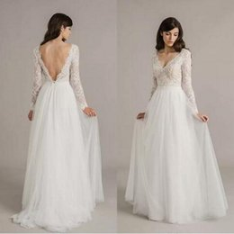 Wholesale Sexy Western Dress Skirts - 2017 Vintage Western Country Lace A Line Ivory Wedding Dresses Long Sleeve Sexy Deep V Neck Backless Bohemian Bridal Gowns Tulle Skirt