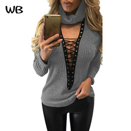 Wholesale Lace Collar Sweater Girls - Wholesale- Mode Boutique Women Sweater Winter Autumn Sexy Lace Up Knitted Sweaters Scarf Collar Warm Pullover Long Sleeve Girls Gray Tops