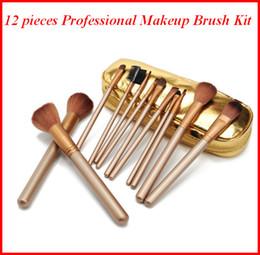 handtaschen-sets Rabatt Make-up Pinsel mit Handtasche 12 Stück Professionelle Make-up Pinsel Set Kit Nude Gold DHL Naked Künstler Pinsel Tool Kit Bea458