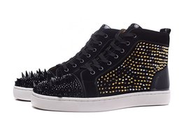 Wholesale Custom Rubber Mixing - Size36-46 high-end custom Black drilling leopard small spikes of mixed nail Men's casual shoes women's Lace-Up red bottom sneaker flat