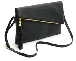 Wholesale Fold Over Purse - wholesale 2017 New Tassel Design Women PU Leather Crossbody Messenger bag Small Sling Shoulder Bags Fold Closure Handbag Purses