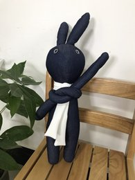 Wholesale Stuffed Animals Bunny Rabbit - Stuffed Animal Rabbit Handmade Denim Plush Animal Bunny Cute Lovely Environmental Demin Fabric Filling Plush Material