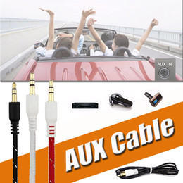 Wholesale Headphone Extension Iphone - Braided AUX 3.5mm Stereo Auxiliary Car Audio Cable Cord Extension 3ft 1M Wired Male to Male For iPhone X 8 Samsung S8 MP3 Headphone Speaker
