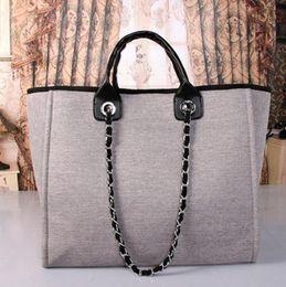 Wholesale canvas bag brands - 5 color Canvas shopping handbag women shoulder bag classic high quality brand designer fashion luxury famous free shipping