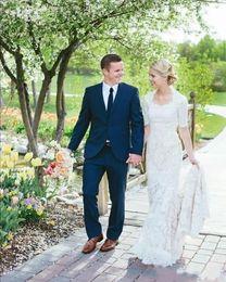 Wholesale Beach Portrait - Country Style Elegant White Full Lace Wedding Dresses 2018 Boho Beach Half Long Sleeves Mermaid Bridal Gowns Custom Made Wedding Wear
