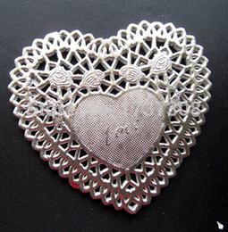 Wholesale Doily Hearts - Wholesale- PD47, 4'' Foil Silver Heart Paper Lace Doilies Placemat Craft Doyleys Wedding Tableware Decoration 50Pcs Lot