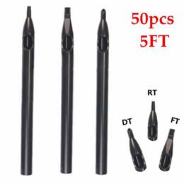 Wholesale Disposable Tattoo Tips Long - Wholesale-50pcs Flat Size 5 Long Black Disposable Plastic Nozzle Tattoo Tips Tube Supply -- TT-003-5FT