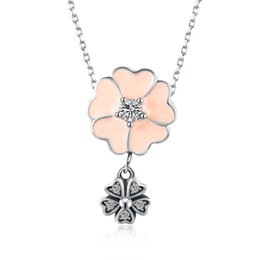 Wholesale Sterling Silver Jewellery Pendants - 2017 DIY Pendants Jewelry Making Pandora Charms Sterling Silver Necklaces Women Clear Zirco Five Leaves Grass Bridesmaids Jewellery for Girl
