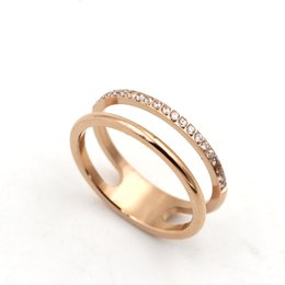 Wholesale Double Diamond Rings - Hollow double 21 micro diamond lovers ring Korean fashion titanium plated in rose gold color gold finger ring