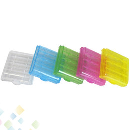 Wholesale Transparent Battery Holder - 14500 10440 Hard Plastic Transparent Battery Storage Boxes Rechargeable Batteries Holder Box Case For The AA AAA Batteries DHL Free