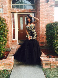 Wholesale Sweetheart Style Evening Dress - Gold Appliqued Black Girls Prom Dresses 2017 Sweetheart Tulle African Style Long Mermaid Evening Gowns Formal Party Dress