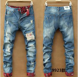 Wholesale european runway - Men's Slim Skinny Pants Runway Straight Elastic Denim Pants Destroyed Ripped Jeans