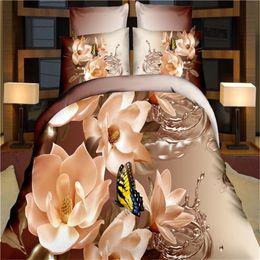2019 elegante cama queen size conjuntos Atacado-Elegant floral borboleta cama set poliéster 3d cama fronha capa de edredão conjuntos de roupa de cama lençóis adultos queen size roupas de cama desconto elegante cama queen size conjuntos