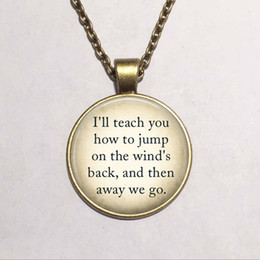 Wholesale Art Pan - Wholesale art glass dome pendant necklace Peter Pan Quote necklace Peter Pan jewelry glass photo necklace