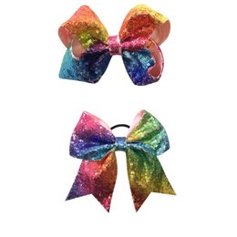 Wholesale Wholesale For Bow Ties - Rainbow Cheer Bow Sequin Cheer Bow With Ponytail Holder Sparkle Cheerleader Sports Elastic Hair Ties For Girl