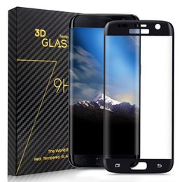 Wholesale Tempered Screen Protector Samsung S6 Full - 3D Screen Protector Tempered Glass Full Coverage Curved Side Explosion for Samsung S6 edge S6 edge plus S7 S7 Edge with Wooden Box