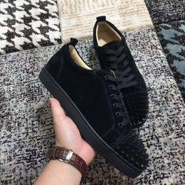 2017New alta qualidade low top camurça preta de fundo vermelho sapatos casuais, sapatilhas da moda das mulheres sapatos baixos da rocha size36-46 de